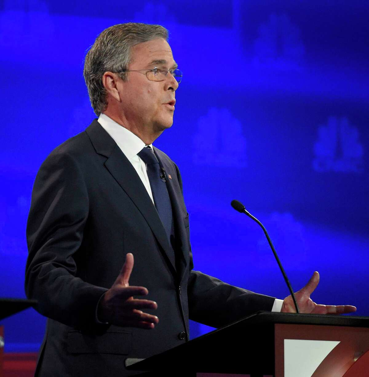 Jeb Bush makes a point during the CNBC Republican presidential debate at the University of Colorado, Wednesday, Oct. 28, 2015, in Boulder, Colo.