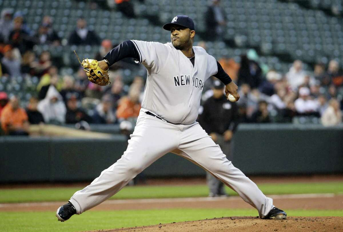 New York Yankees starting pitcher CC Sabathia throws to the Baltimore Orioles in the first inning of a baseball game in Baltimore, Wednesday, May 4, 2016. (AP Photo/Patrick Semansky)