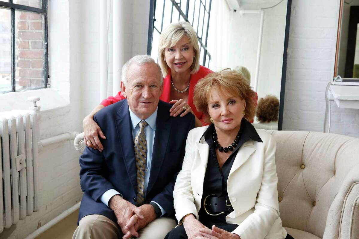 """In this image released by ABC, John and Jan Ramsey pose with Barbara Walters, right, for her """"American Scandal"""" series for Discovery. Walters is revisiting some of her biggest news stories for """"American Scandals,"""" a new, 9-episode series that premieres on Investigation Discovery on Monday at 10 p.m. EST."""