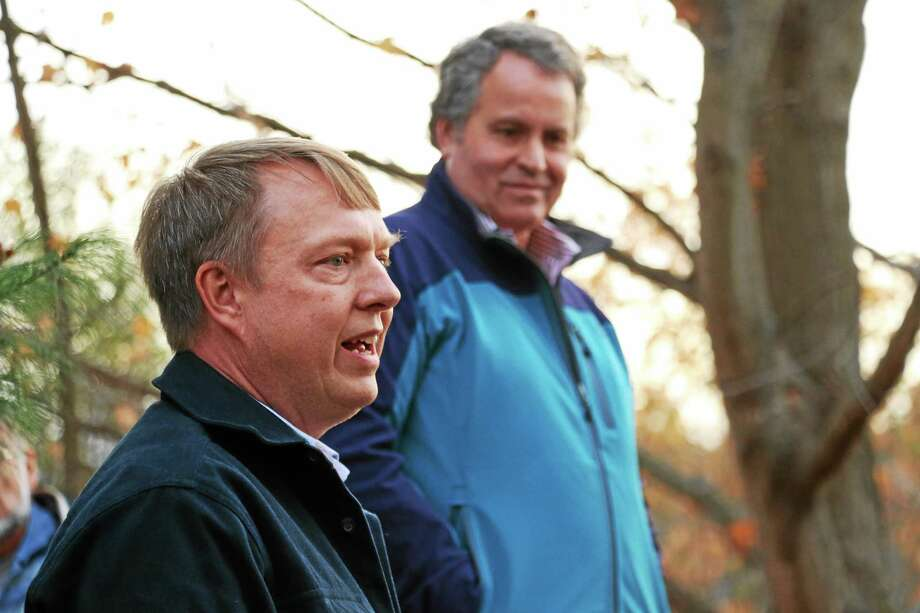 "Sean Hayden, soil scientist and executive director of the Northwest Conservation District talks about the ""gravel wetland"" developed in cooperation with the Morris Inland Wetland and Watercourses Agency, Harvest Moon Timber Frame owners, and CCA Engineering. Behind Hayden is Steven Trinkaus of Trinkaus Engineering in Southbury. Photo: John Fitts — The Register Citizen"
