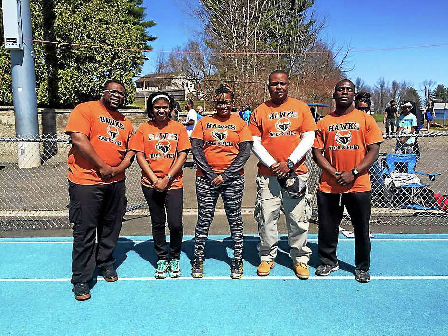 The Connecticut Hawks Track Club coaches are, from left, Terrance Miller, Whitney Bailey, Tamika Baines, Lamont McCown and Russell Blackwell. Photo: Submitted Photo