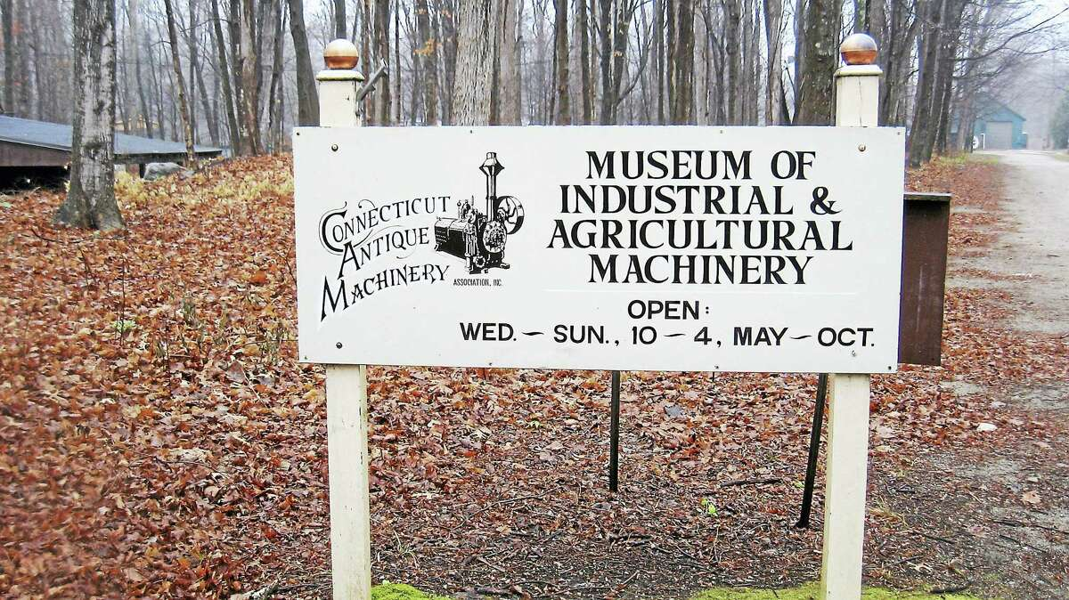 A sign at the entrance of Connecticut Antique Machinery Association museum in Kent.