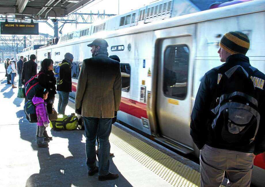 In this January 2014 file photo, the 2:46 p.m. Metro-North train bound for Grand Central Terminal arrives at Union Station. Photo: FILE PHOTO — New Haven Register