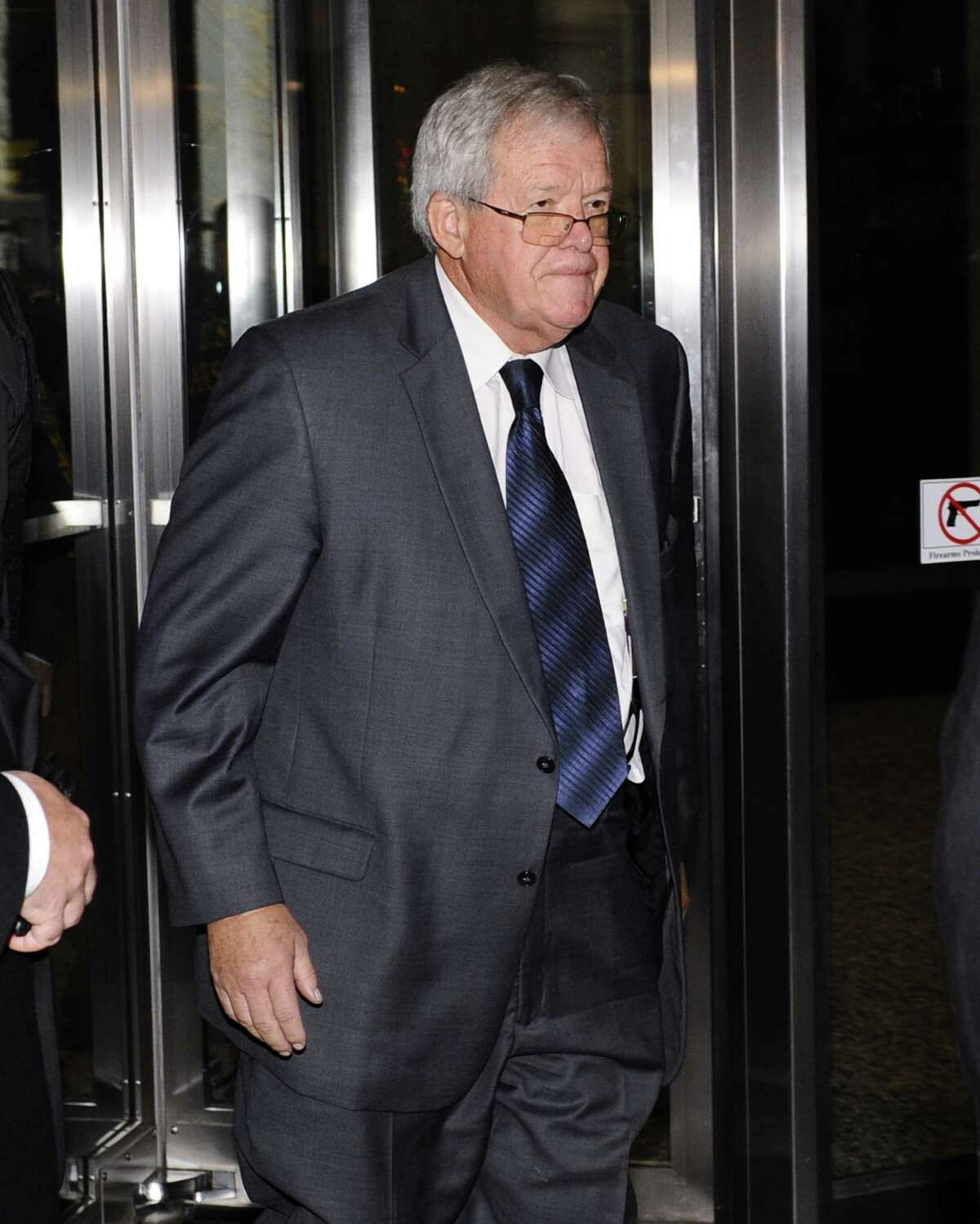 Former U.S. House Speaker Dennis Hastert leaves the federal courthouse Wednesday, Oct. 28, 2015, in Chicago, where he changed his plea to guilty in a hush money case that alleges he agreed to pay someone $3.5 million to hide claims of past misconduct.