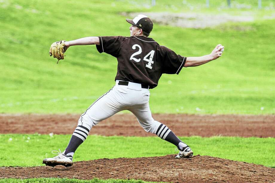 Thomaston workhorse Justin Taylor limited Shepaug to just three hits Wednesday afternoon in the Bears' big win at home. Photo: Photo By Marianne Killackey  / 2015