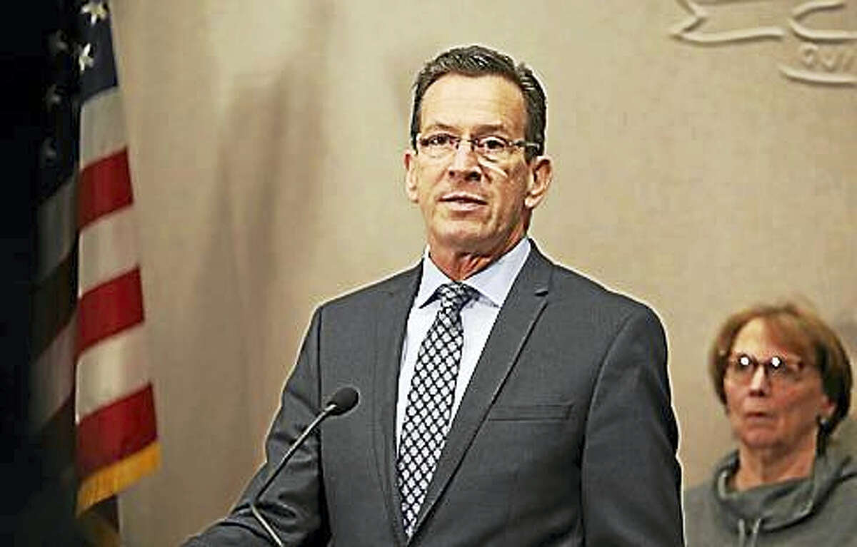 Gov. Dannel P. Malloy at a press conference Friday at the Legislative Office Building. (Christine Stuart - CT News Junkie)