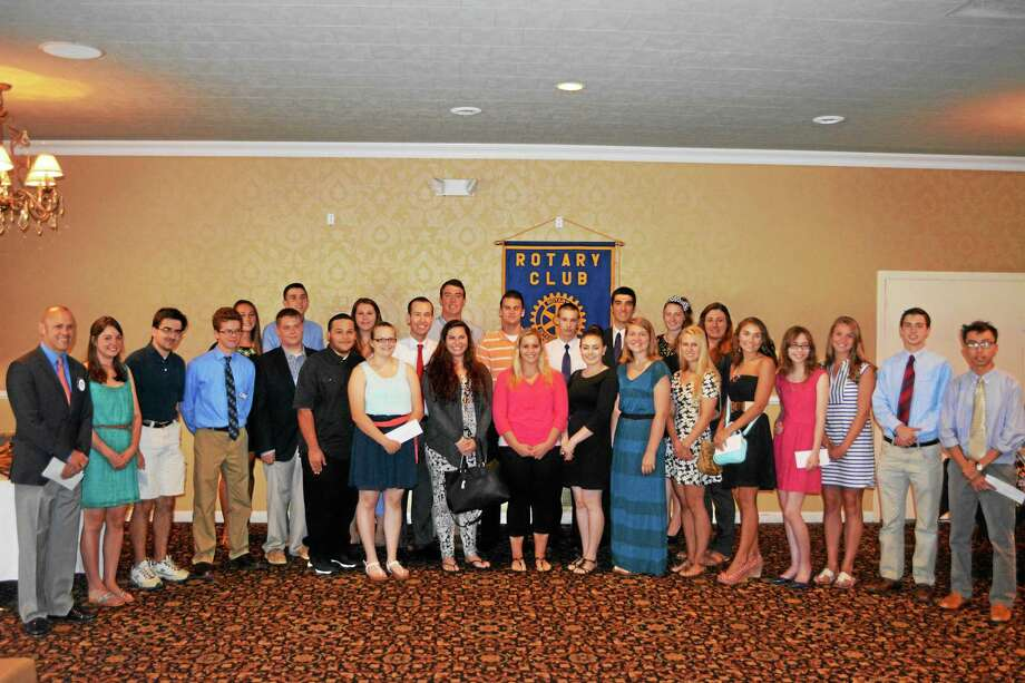 The local students who were presented with new or renewed scholarships by the Torrington-Winsted Area Rotary Club Tuesday afternoon. Photo: Ben Lambert — The Register Citizen