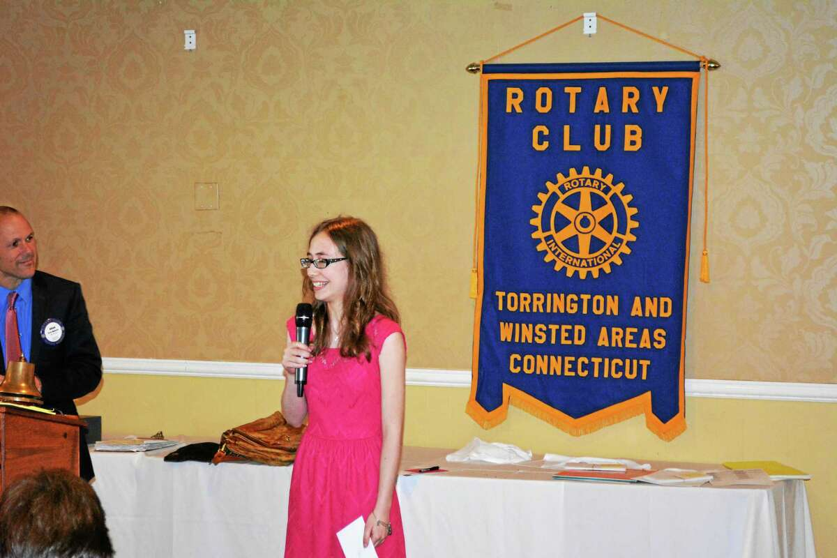 Abby Starr, a 2015 graduate of Northwestern Regional High Schol, addresses Torrington-Winsted Area Rotary Club Tuesday afternoon upon being presented with a scholarship.