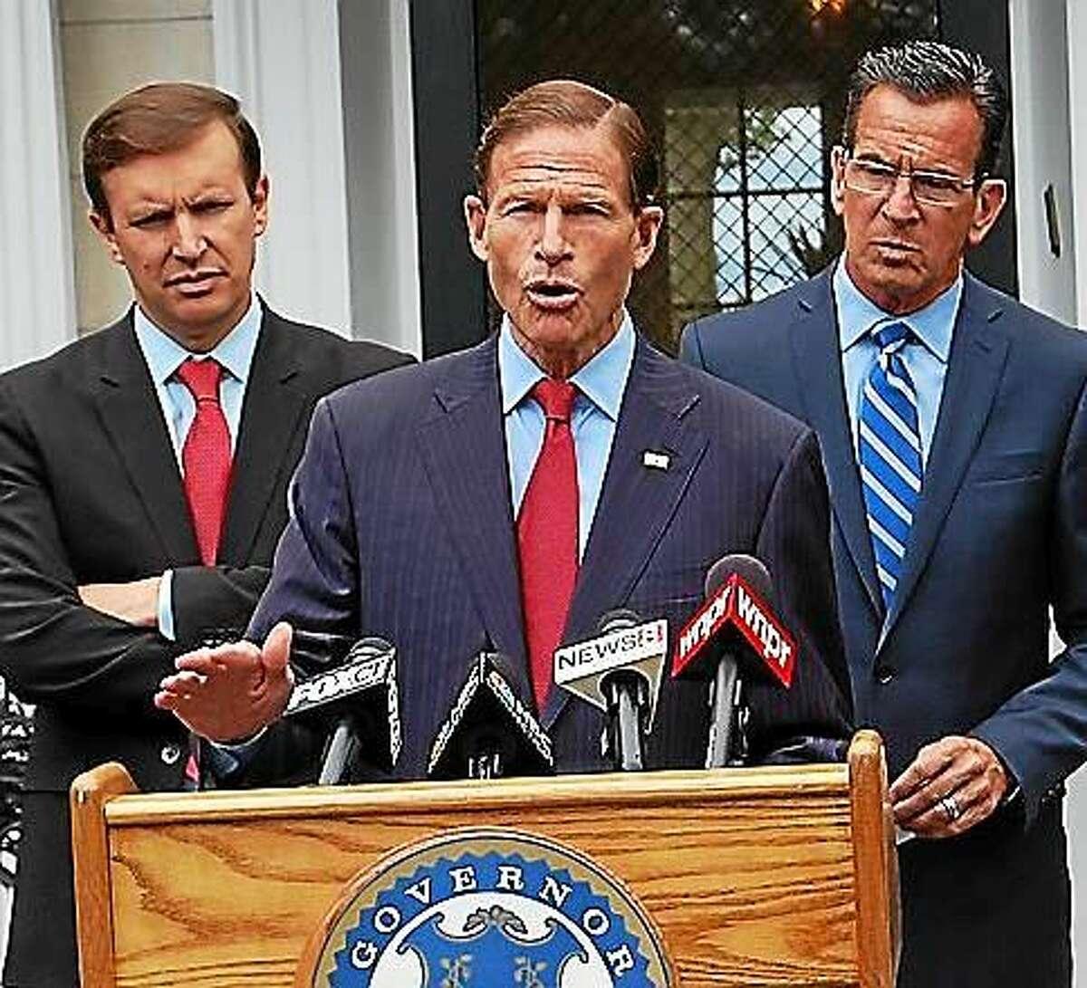 U.S. Sens. Richard Blumenthal (center), Chris Murphy (left) and Gov. Dannel P. Malloy (right)