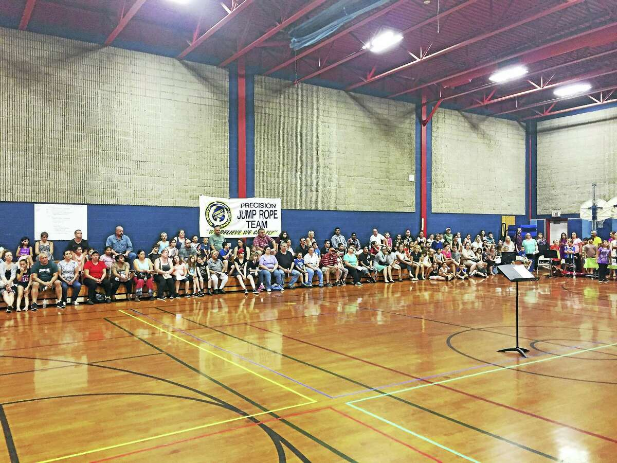CONTRIBUTED PHOTO Torrington students await the start of the instrument petting zoo, held Thursday night at Forbes School.