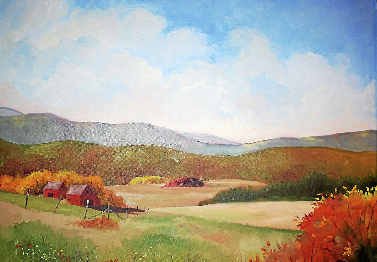 """Contributed photo courtesy of the artist""""Two Red Barns,"""" oil painting by Wolcott painter Bonny Hartigan."""