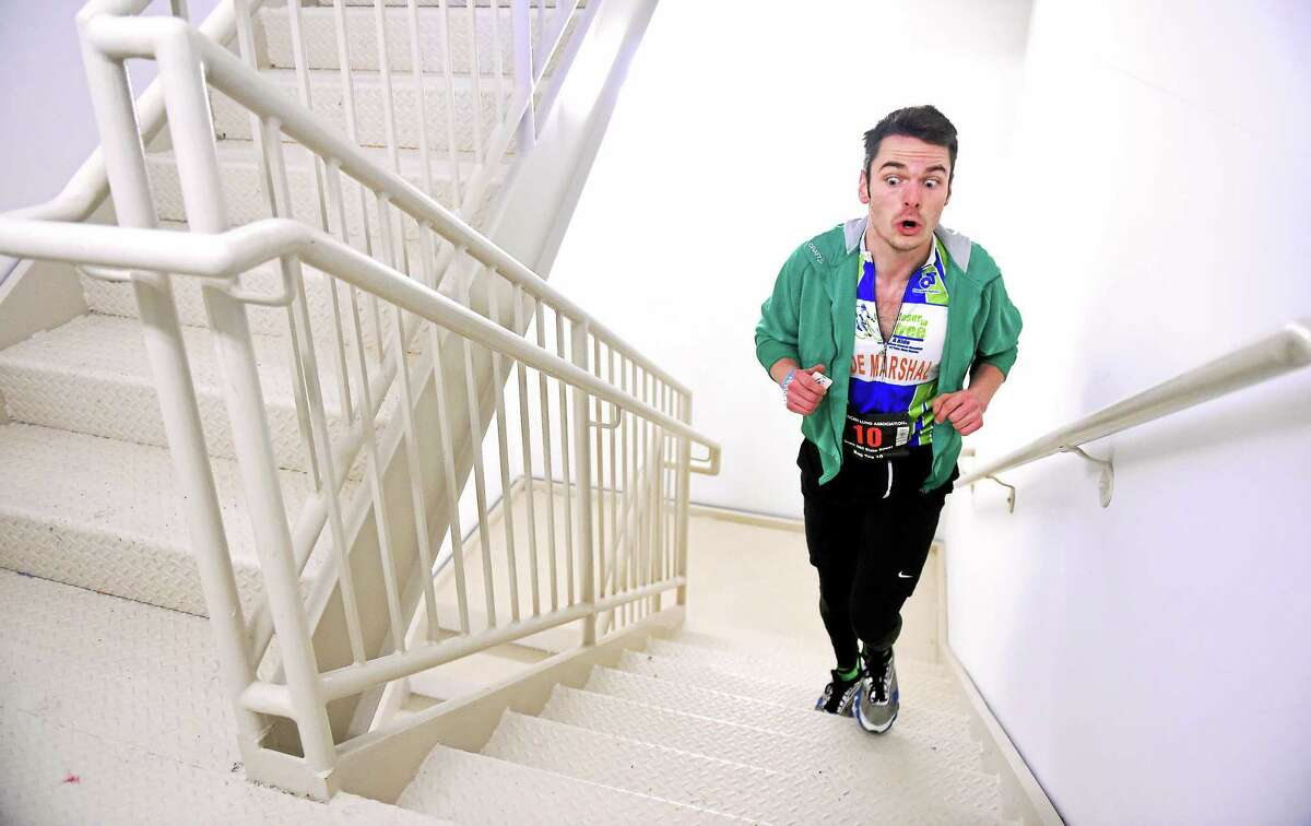 Chris Mahoney of New Haven nears the end of the Fight for Air Climb Saturday.