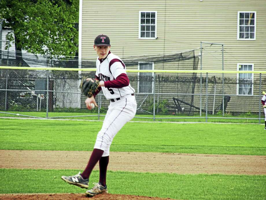 Torrington's Jason Vinisko squared off with St. Paul pitcher Wes Lahey in the Falcons' come-from-behind win at Fuessenich Park Thursday afternoon. Photo: Photo By Peter Wallace