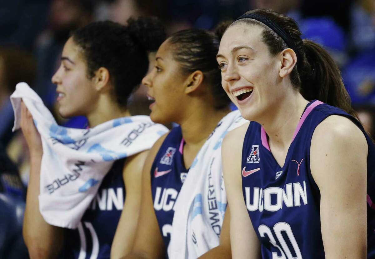 UConn's Breanna Stewart smiles on the bench in the second half of last Saturday's win against Tulsa.
