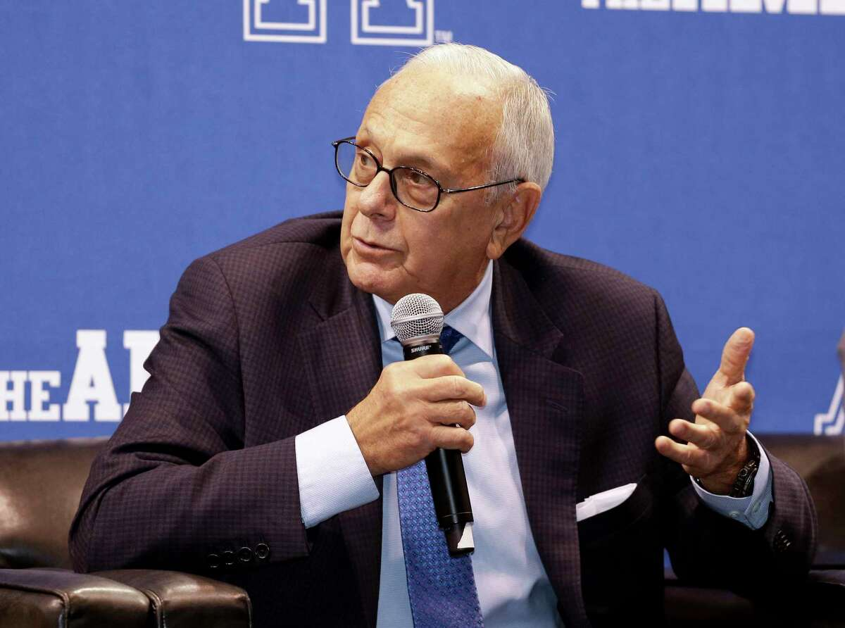 SMU head coach Larry Brown speaks during the AAC media day on Tuesday in Orlando, Fla.