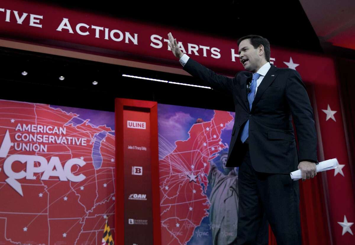 Sen. Marco Rubio, R-Fla. waves as he speaks during the Conservative Political Action Conference (CPAC) in National Harbor, Md., Friday, Feb. 27, 2015. (AP Photo/Carolyn Kaster)