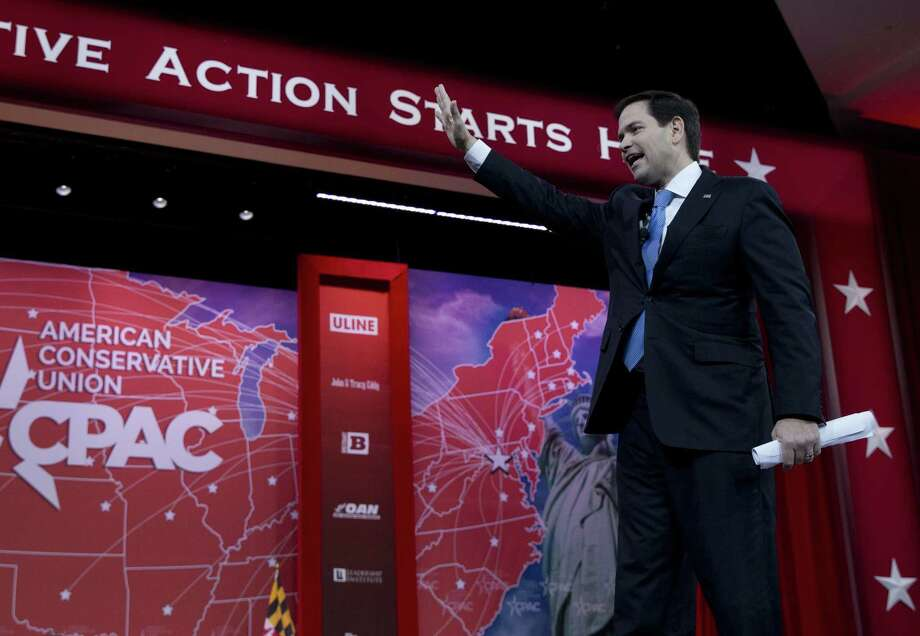 Sen. Marco Rubio, R-Fla. waves as he speaks during the Conservative Political Action Conference (CPAC) in National Harbor, Md., Friday, Feb. 27, 2015. (AP Photo/Carolyn Kaster) Photo: AP / AP