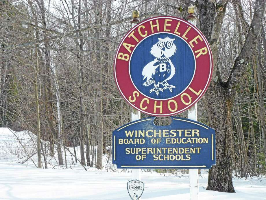 The Winchester Board of Education sign at the Batchellor School in Winsted. Photo: Register Citizen File Photo