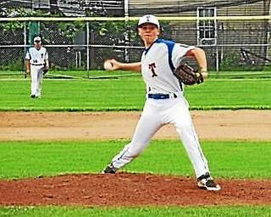 Torrington's Jake Reynolds threw a no-hitter against Bristol this past weekened in a P38 American Legion win. Torrington got the win in a game that lasted just an hour and 10 minutes. Photo: Peter Wallace--Register Citizen
