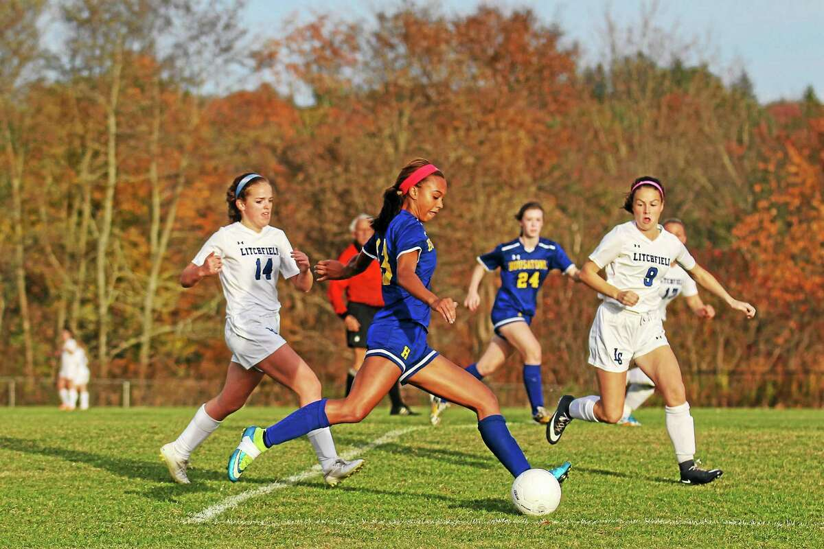Housatonic's Lauren Segalla takes a shot on goal in her team's win against Litchfield Tuesday afternoon.