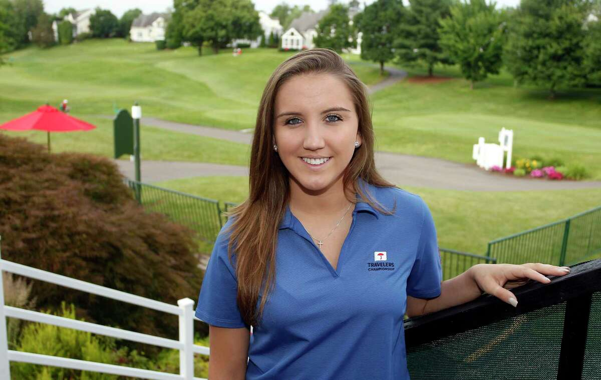 Brittany Vose, founder of the Lustgarten Foundation 18-Hole Stroll, poses for a photo at the first hole of the Travelers Championship golf tournament on June 26, 2015 in Cromwell, Conn. Vose will lead a group of about 300 people on a seventh-annual walk around the course to raise money for pancreatic cancer research.