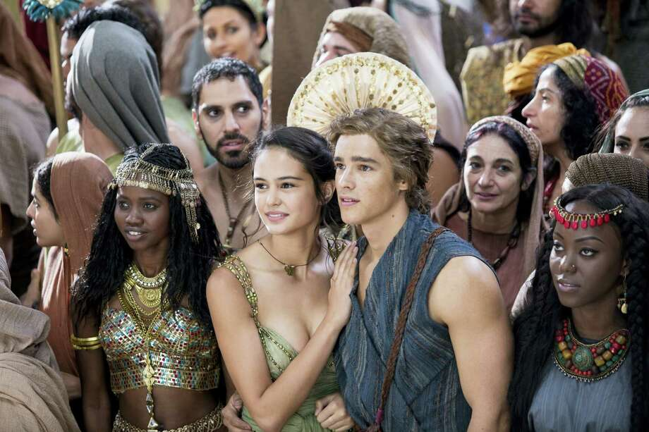 """This image released by Lionsgate shows Courtney Eaton, center left, and Brenton Thwaites, center right, in a scene from """"Gods of Egypt."""" Photo: Lisa Tomasetti/Lionsgate Via AP  / Lionsgate"""