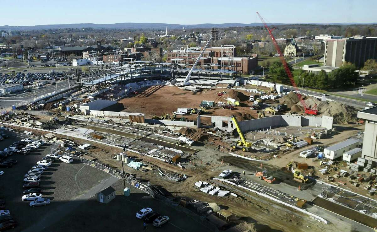 In this Nov. 17, 2015 photo, construction takes place on a new baseball stadium in the north end of Hartford to be home for the Hartford Yard Goats, the Double-A affiliate of the Colorado Rockies.