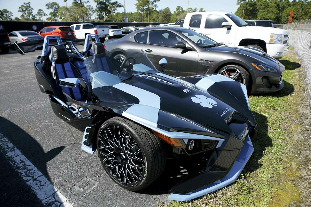 A Polaris Slingshot belonging to Yoenis Cespedes sits in the team parking lot.