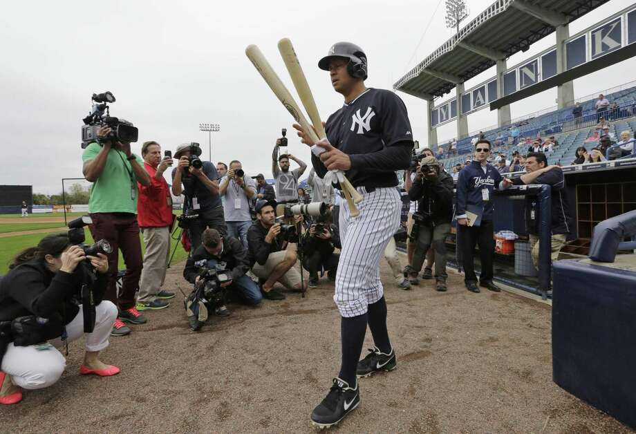 The New York Yankees' Alex Rodriguez walks out to batting practice on Thursday in Tampa, Fla. Photo: Lynne Sladky — The Associated Press  / AP