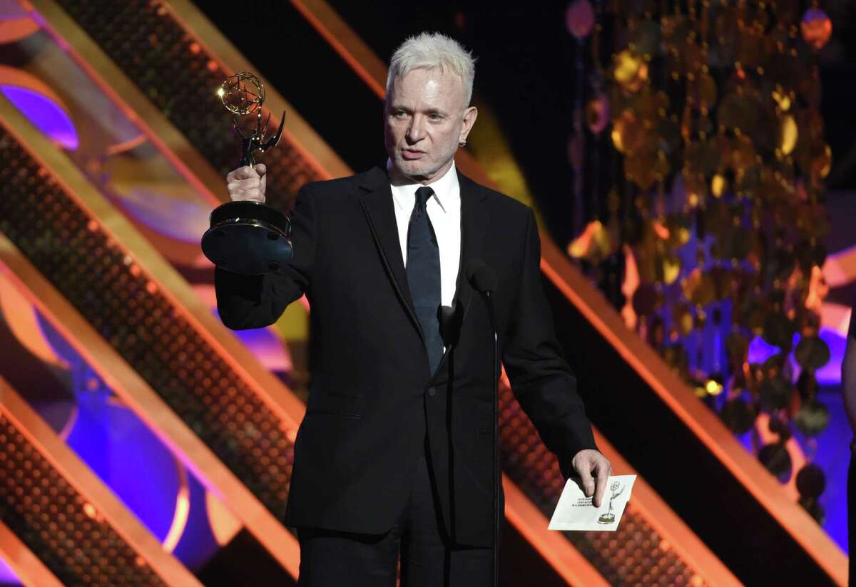 """In this April 26, 2015 photo, Anthony Geary accepts the award for outstanding lead actor in a drama series for """"General Hospital,"""" at the 42nd annual Daytime Emmy Awards in Burbank, Calif. After 37 years, Geary finishes his role as Luke Spencer on ABC's """"General Hospital"""" on Monday, July 27, 2015."""