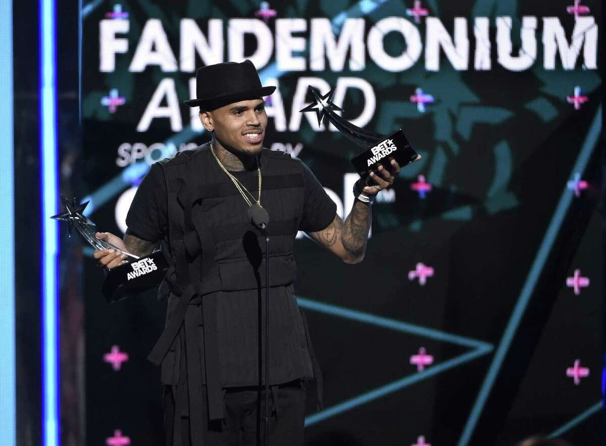Chris Brown accepts the fandemonium award at the BET Awards at the Microsoft Theater on June 28, 2015 in Los Angeles.