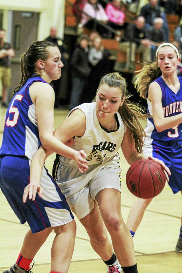 Morgan Sanson and her Thomaston teammates begin their quest for a third straight Class S Girls Basketball State Championship on Monday. Photo: Photo By Marianne Killackey  / 2015