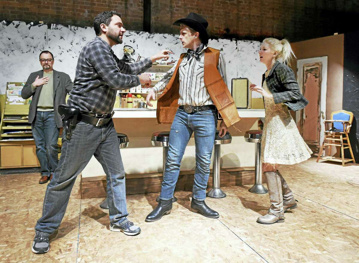 """From left, J. Kevin Smith as Dr. Lyman; Peter Chenot as Will the sheriff; Trevor Williams as Bo the cowboy; and Megan Chenot as Cherie in """"Bus Stop"""" at the English Markets Building."""