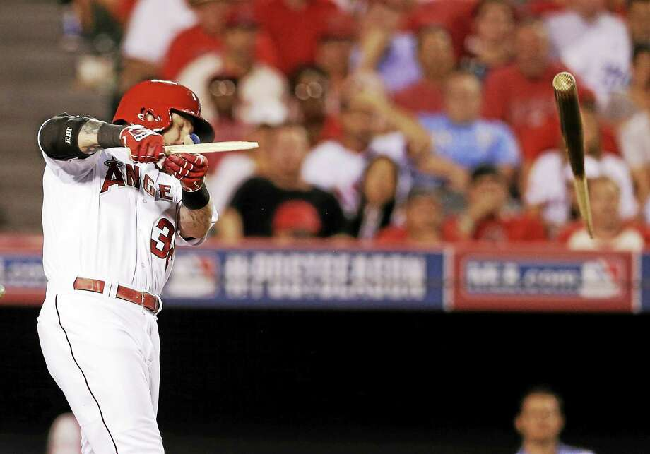Los Angeles Angels outfielder Josh Hamilton breaks his bat during Game 2 of the ALDS against the Kansas City Royals on Oct. 3 in Anaheim, Calif. Photo: Gregory Bull — The Associated Press File Photo  / AP