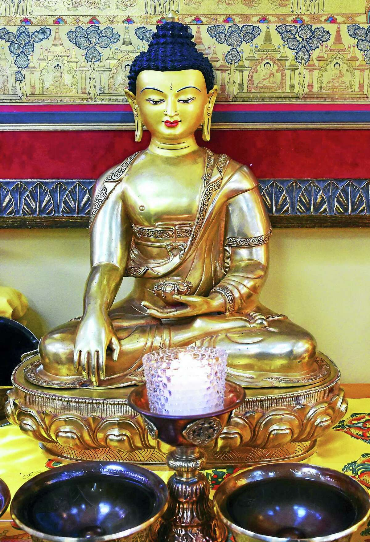 A sculpture of the Buddha Shakyamuni at the Buddhist Meditation Center of Guilford.