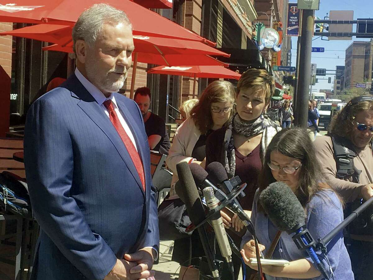 Attorney William Mauzy answers questions from the media as he arrives at his Minneapolis office Wednesday, May 4, 2016. A published report says Prince's representatives arranged for the musician to meet a California doctor to help him kick an addiction to painkillers shortly before his death. Mauzy represents California Dr. Howard Kornfeld who couldn't immediately meet Prince so he sent his son Andrew to discuss treatment. The pop rock singer died April 21 at the age of 57.