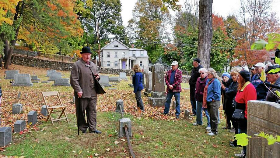 Winsted resident Lynn Kessler portrayed 1800s newspaper editor Thomas M. Clarke at the Third Annual Cemetery Walk on Saturday, Oct. 24, 2015. Photo: Photo By N.F. Ambery