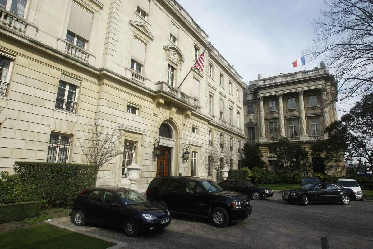 FILE -- This March 18, 2010 file photo shows the main entrance of the American embassy in Paris. At least five drones flew over the Eiffel Tower, the U.S. Embassy and other Paris landmarks overnight, authorities said Tuesday Feb. 24, 2015, in the most audacious of several mysterious drone overflights around France in recent months. (AP Photo/Michel Euler, File)