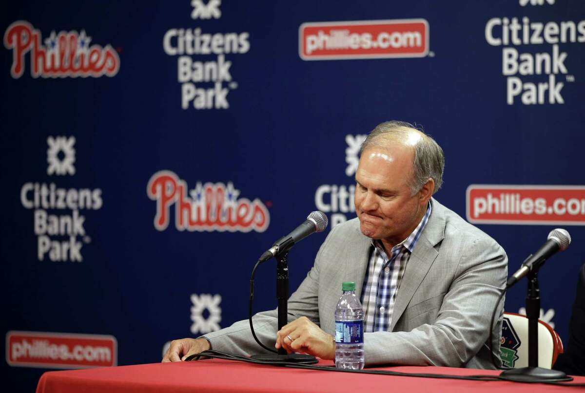 Phillies manager Ryne Sandberg pauses during a news conference where he announced his resignation Friday in Philadelphia.
