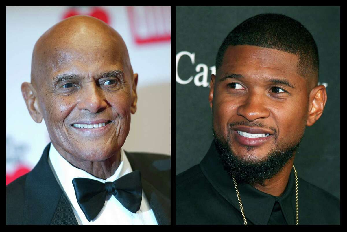 This photo combo of file photos shows Harry Belafonte, left, and Usher. During an hour-long conversation moderated by Soledad O'Brien on Oct. 23, 2015 in New York, the 37-year-old Usher and 88-year-old Belafonte related with obvious warmth to each other as fellow artists, activists and celebrities; and as elder statesman and protege.