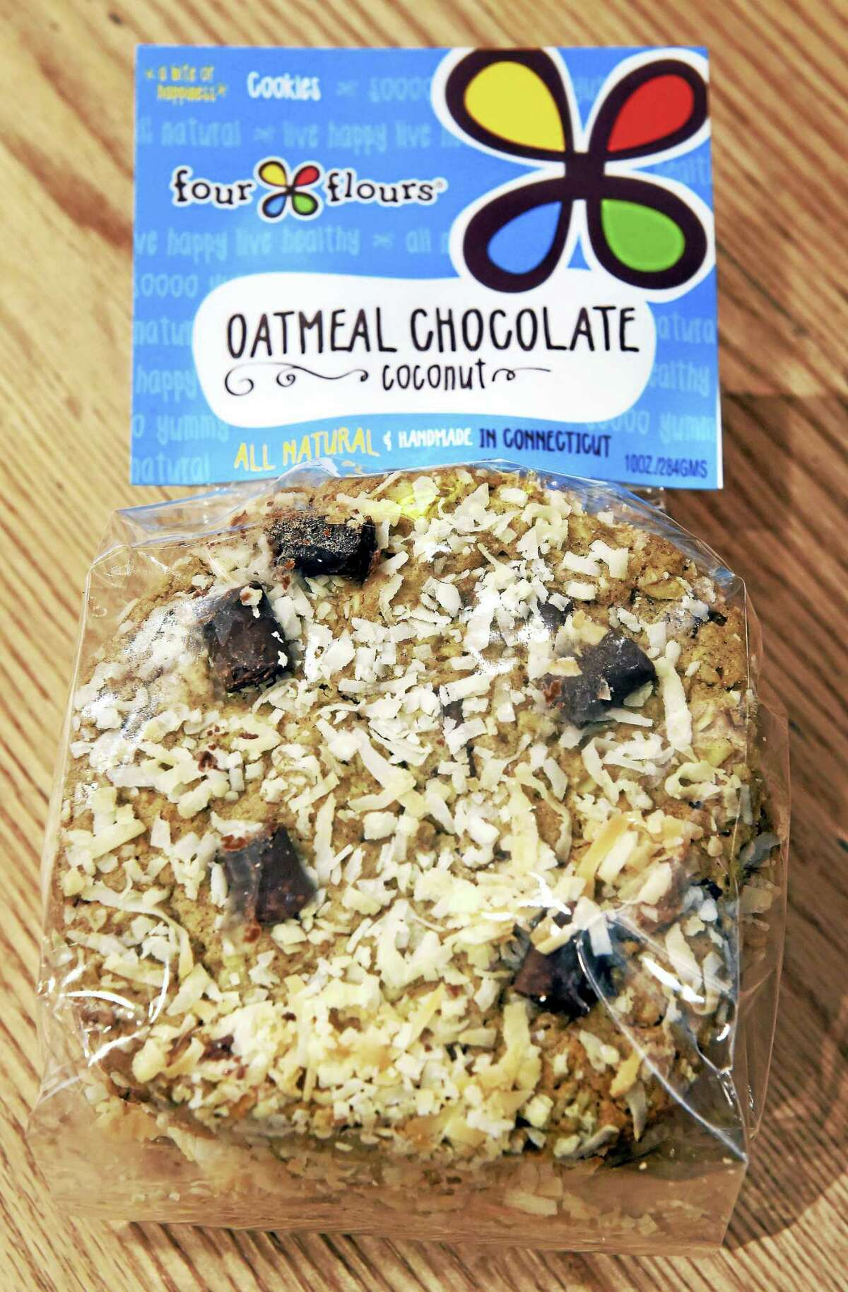 A package of oatmeal chocolate coconut cookies for sale at Four Flours Baking Company on Chapel Street in New Haven.
