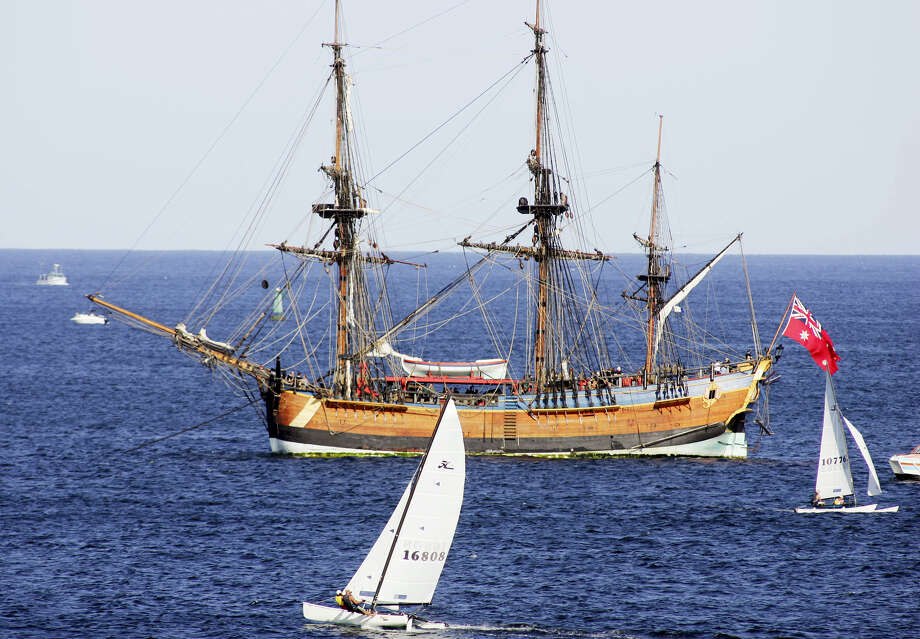 In this April 17, 2005, file photo, the replica of the ship, the Endeavour, lies at anchor after it was removed from a sandbar in Botany Bay, Sydney. Researchers are set to announce on Wednesday, May 4, 2016, that they believe the original Endeavour is submerged somewhere in Rhode Island's Newport Harbor. Photo: AP Photo — Mark Baker, File   / AP2005