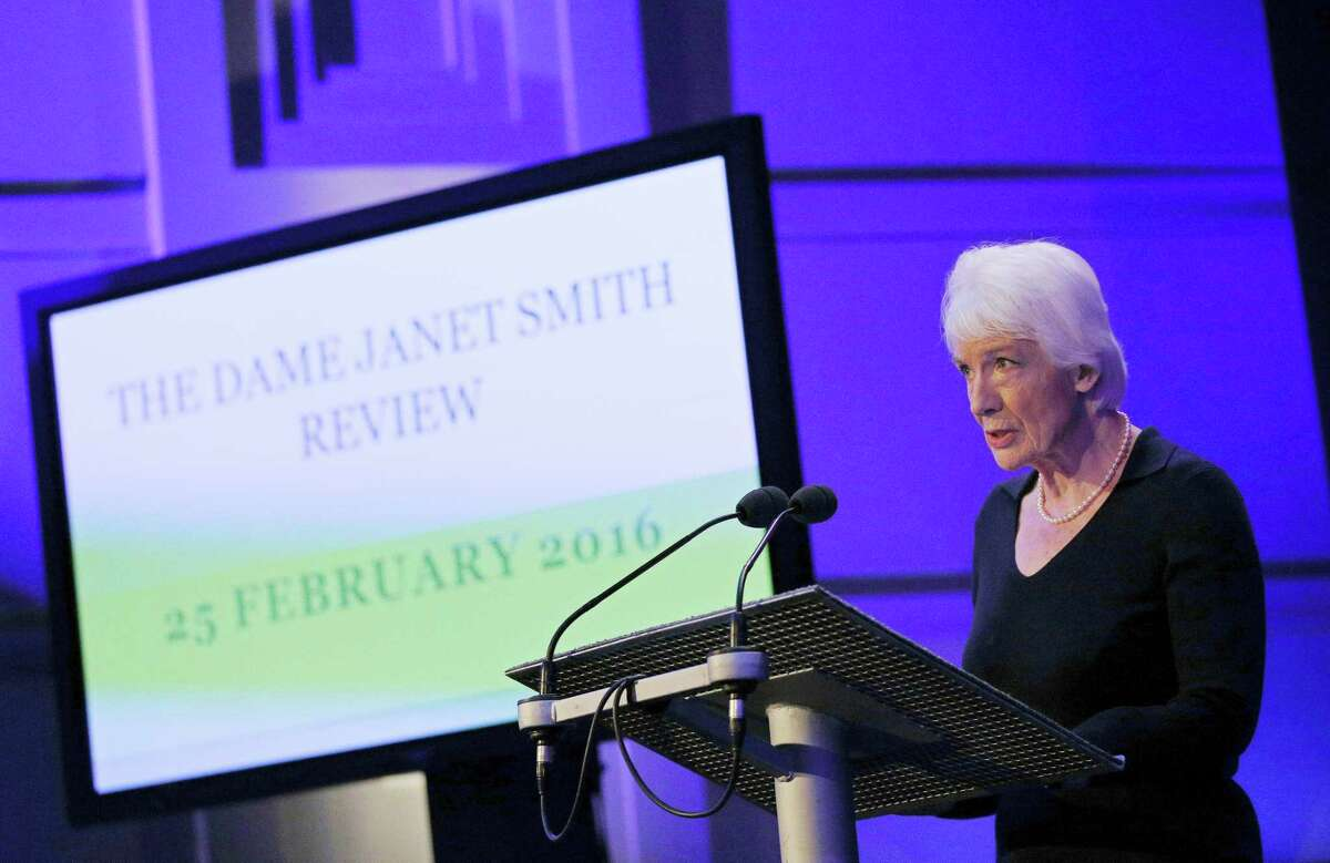 """Dame Janet Smith makes a statement at BBC's Broadcasting House in central London on Thursday Feb. 25, 2016, following the publication of the Dame Janet Smith Review Report on former television presenter Jimmy Savile. The investigation commissioned by the BBC has found that employees were aware of complaints of sexual assault against the late entertainer Jimmy Savile and missed opportunities to stop him. However, the review by a former court of appeal judge, Dame Janet Smith, cleared the institution of responsibility. She found no evidence that senior managers """"ever found out about any specific complaint relating to Savile's inappropriate sexual conduct."""""""