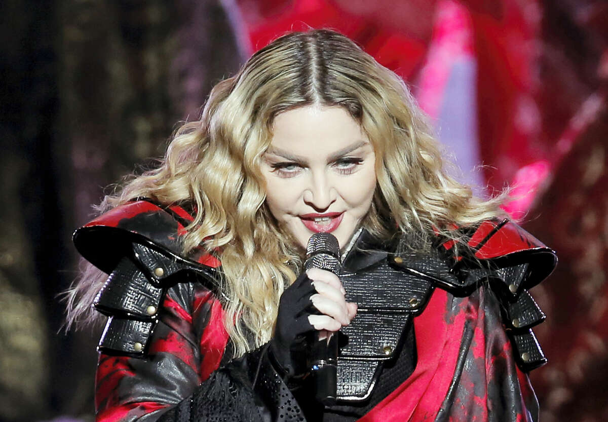In this Feb. 20, 2016 photo, Madonna performs during the Rebel Heart World Tour in Macau.