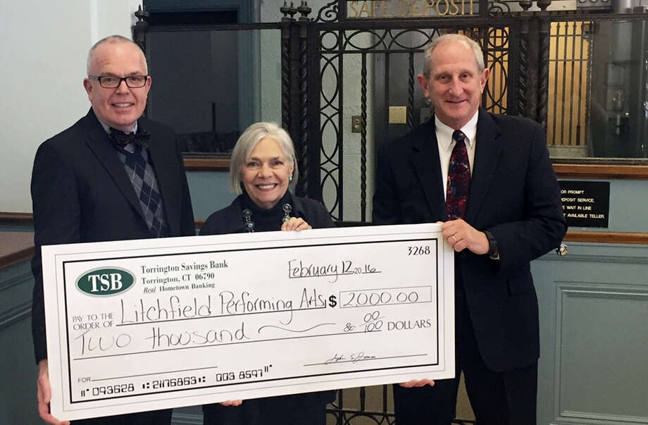 Contributed photo From left are Jeffrey Geddes, Torrington Savings Bank Senior Vice President; Vita Muir, founder and executive director, Litchfield Performing Arts; and John Janco: Torrington Savings Bank President & CEO. Photo: Journal Register Co.
