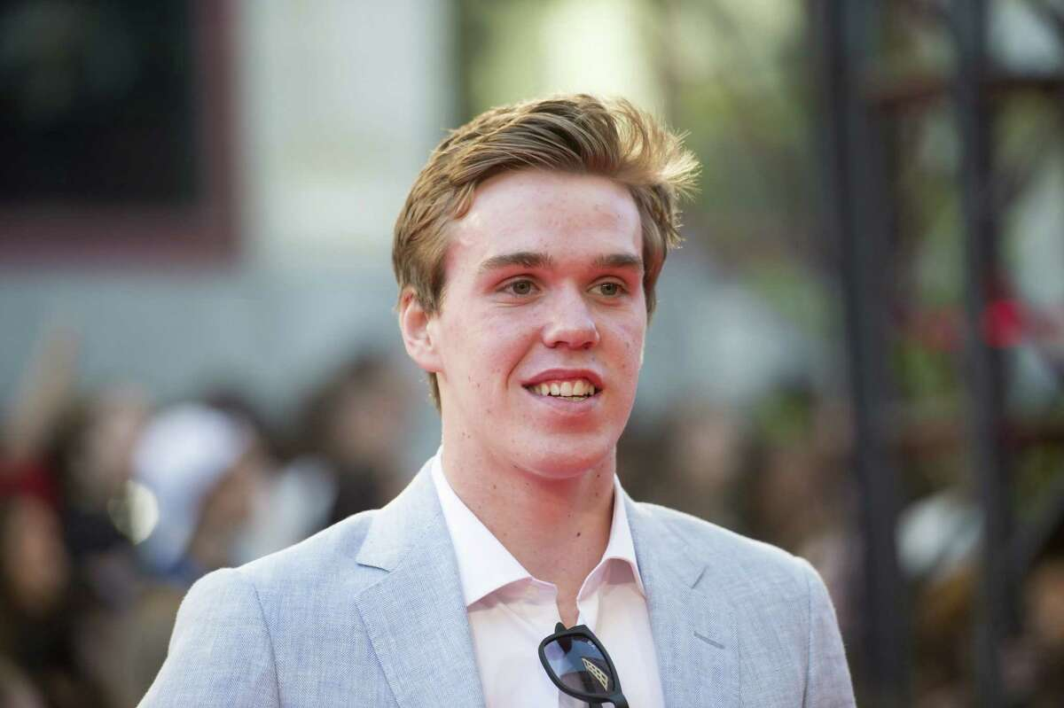 Connor McDavid arrives on the red carpet during the Much Music Video Awards in Toronto on Sunday.