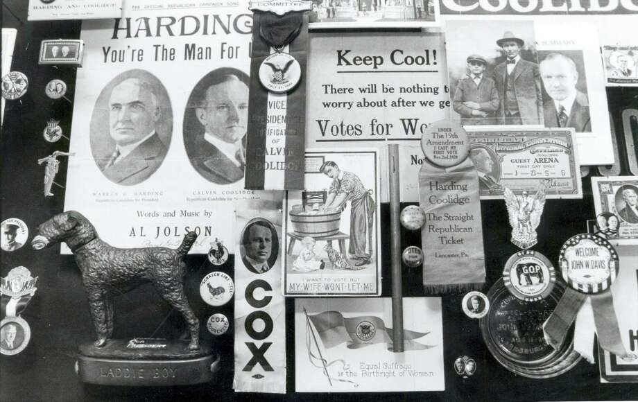 In this 1989 photo, a montage of memorabilia from past political campaigns past is laid out to dry in the rare book room of the University of Hartford's Museum of American Political Life in Hartford, Conn. J. Doyle DeWitt, president of The Travelers Insurance Company in the 1950's, donated thousands of items from his personal collection to the university. Photo: Sherry Peters/The Hartford Courant Via AP  / The Hartford Courant