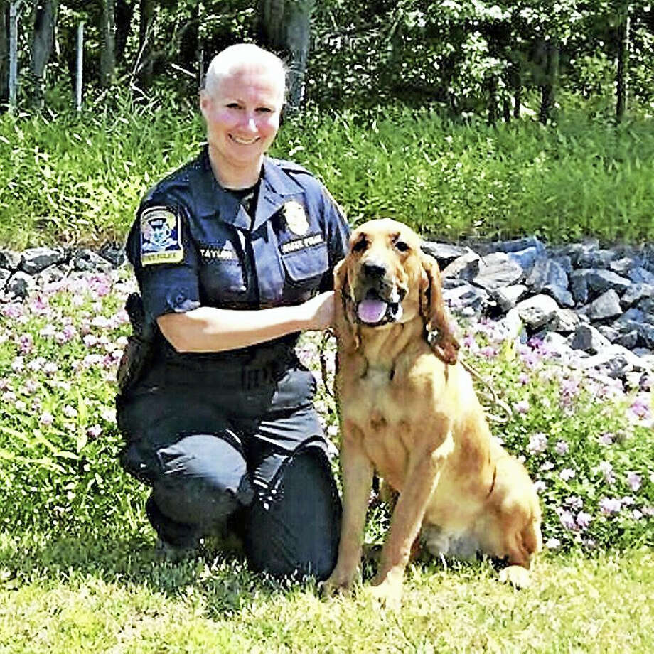 Trooper First Class Kerry Halligan and Texas Photo: Photo Courtesy Of The Connecticut State Police