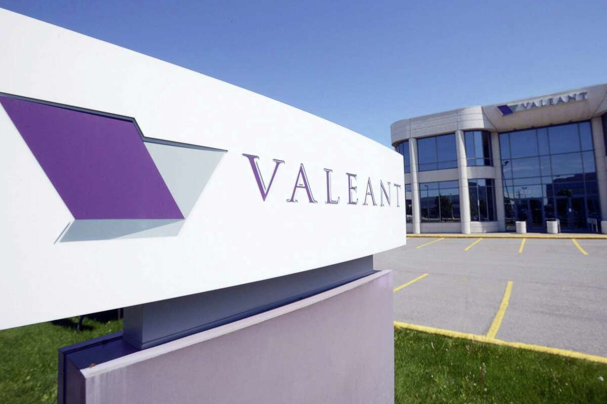 This May 27, 2013 photo shows the head office and logo of Valeant Pharmaceuticals in Montreal.