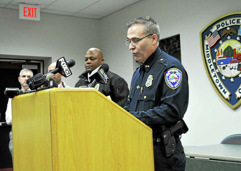 "Middletown Police William McKenna read a prepared statement at a press conference Tuesday evening. Four Wesleyan University students were arrested Tuesday evening in connection with an overdose of the illegal party drug, ""Molly,"" on campus Sunday, he said. Photo: Cassandra Day — The Middletown Press"